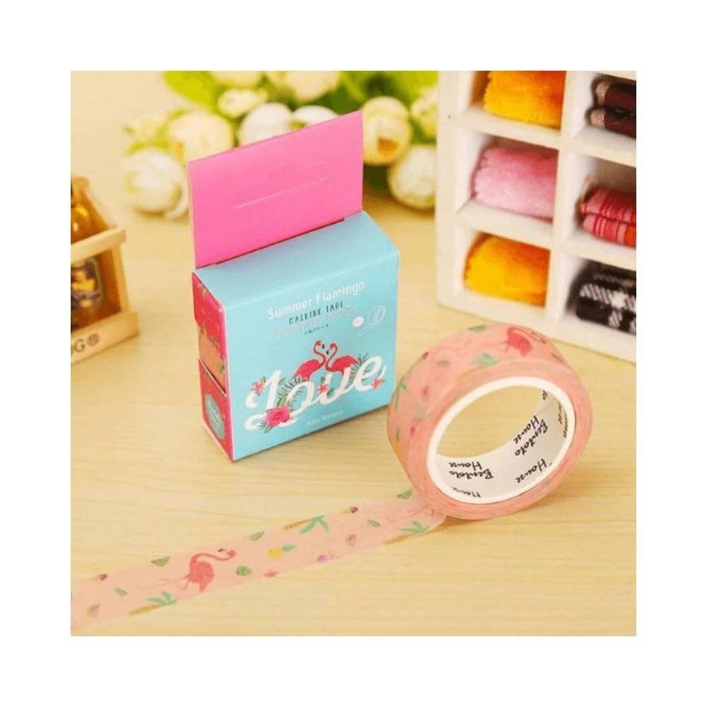 Washi tape love flamingo