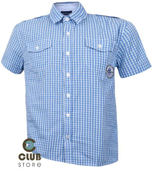 Camisa Calvin Klein Xadrez p/ Meninos - Azul