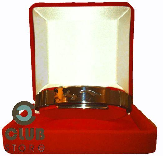 Pulseira Bracelete Aço Inox e Silicone