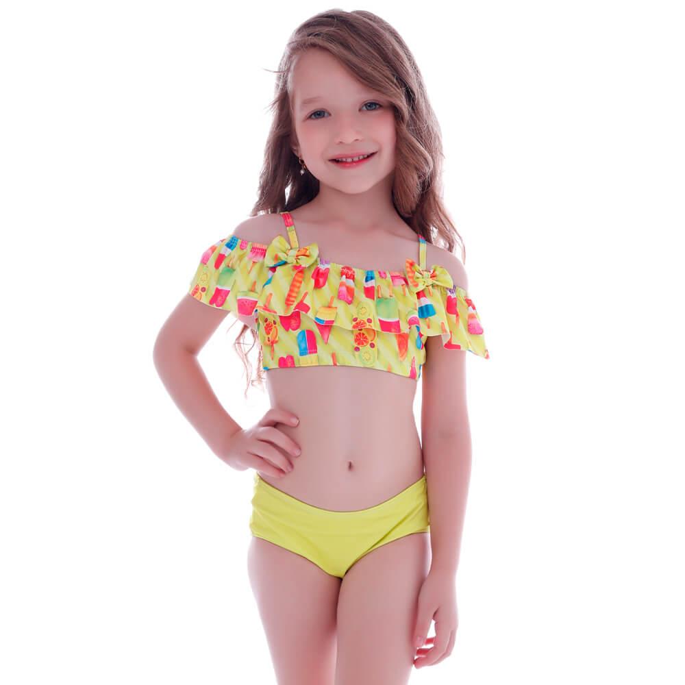 Biquíni Infantil Ciganinha com Alça Neon Ice Cream - Cecí