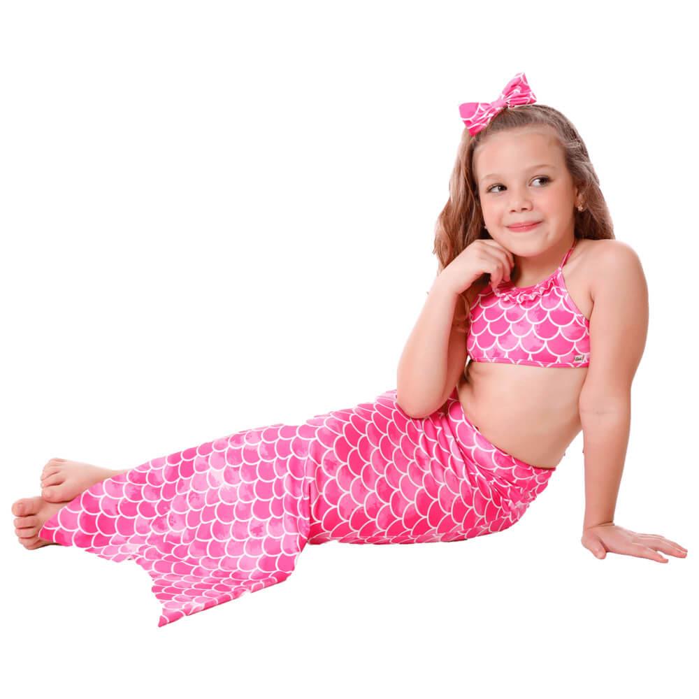 Biquíni Infantil Com Calda de Sereia Rosa Com Proteção UV