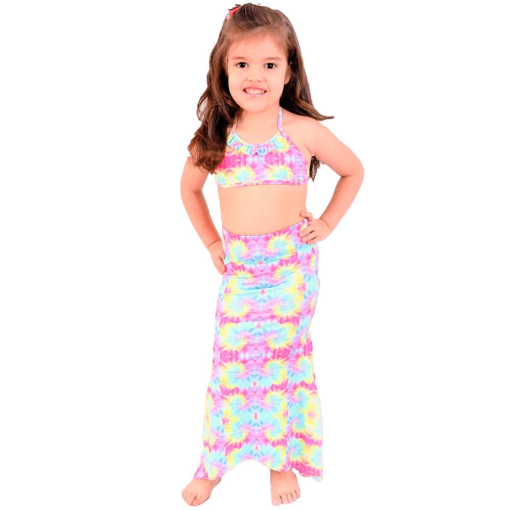 Biquíni Infantil Com Calda de Sereia Tie Dye Com Proteção UV