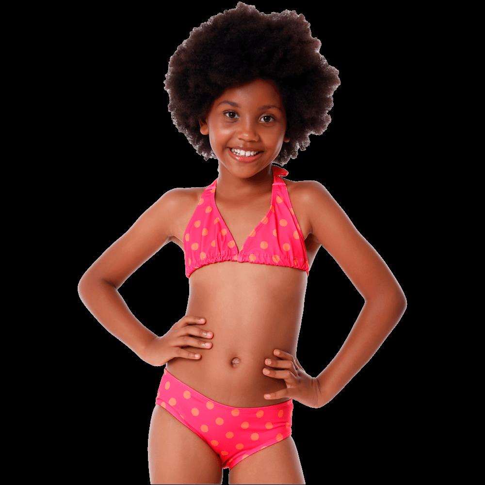 Biquini Infantil Cortininha Bolinha Com Proteção UV
