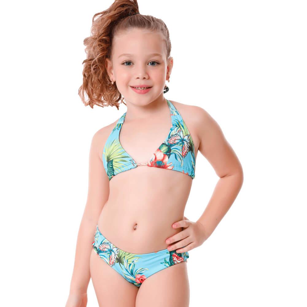 Biquini Infantil Cortininha Florida Com Proteção UV