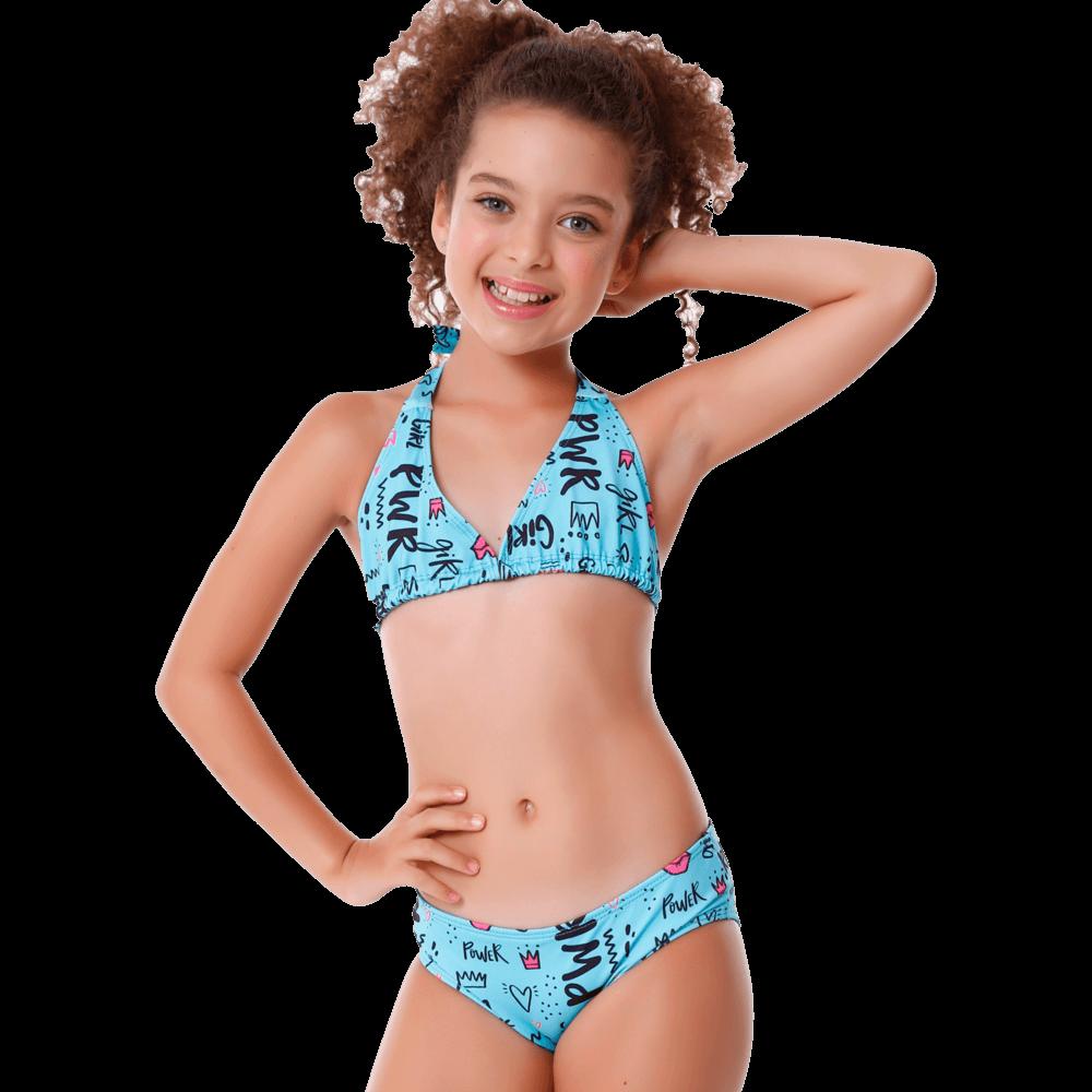 Biquini Infantil Cortininha Girl Pwr Com Proteção UV