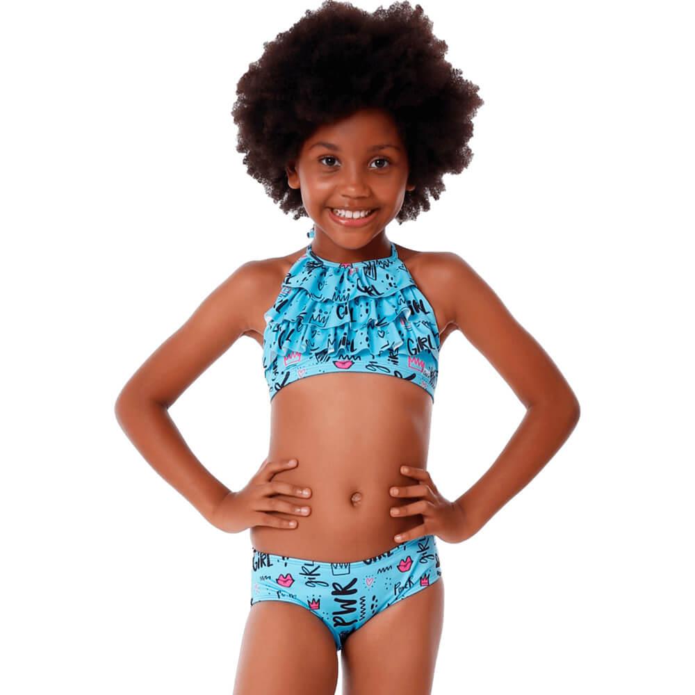 Biquíni Infantil Frente Única com Babado Girl Pwr