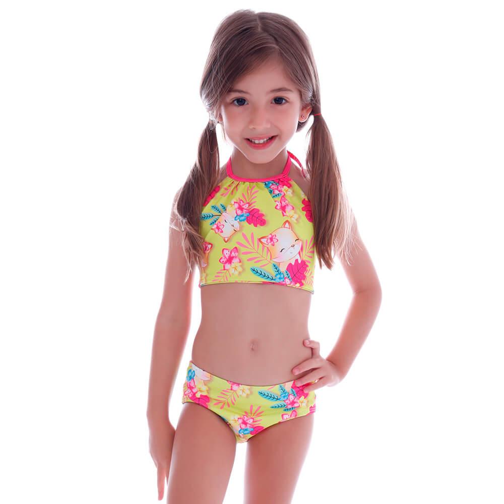 Biquíni Infantil Frente Única Raposinha Tropical - Cecí