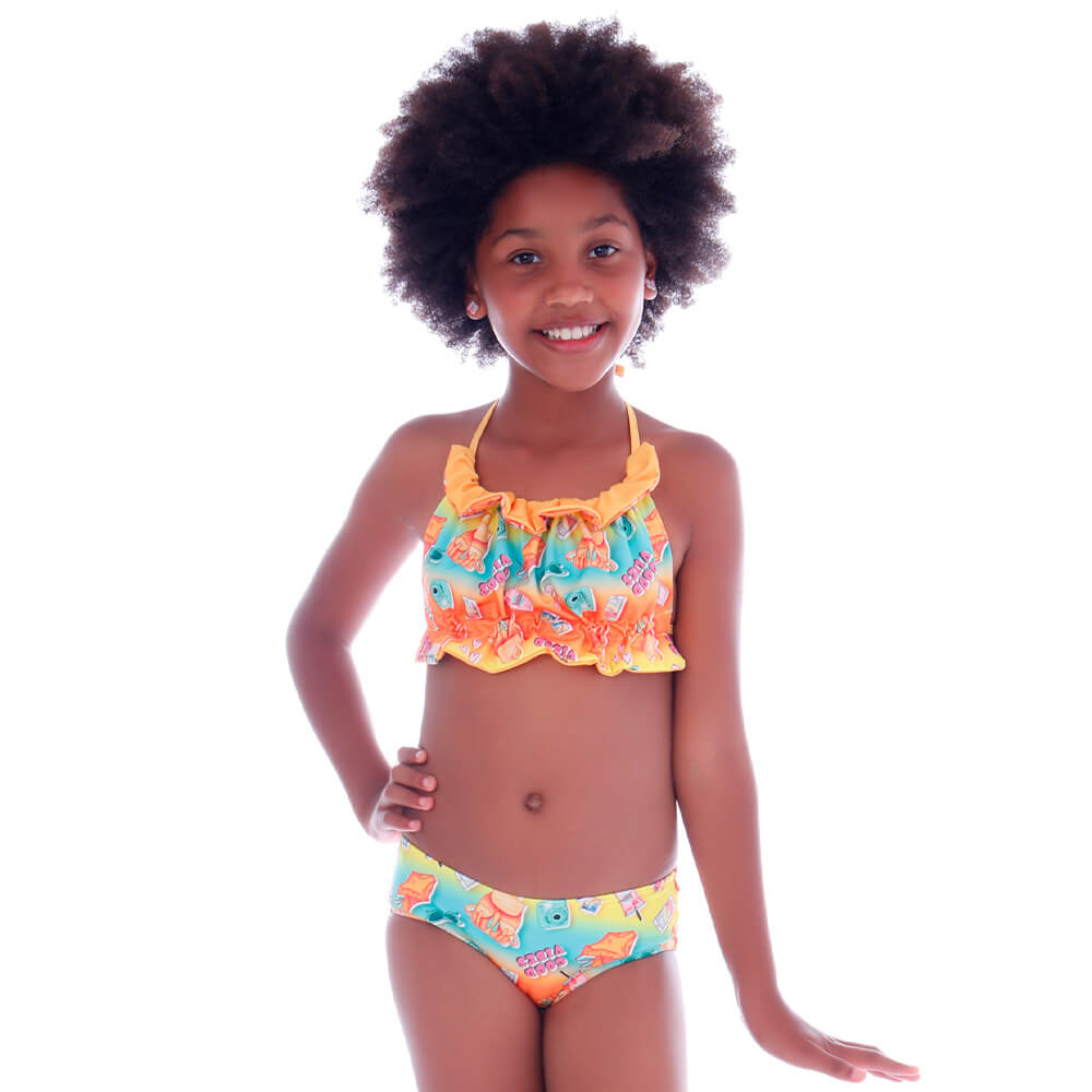 Biquíni Infantil Top Dupla Face Summer Good Vibes - Cecí