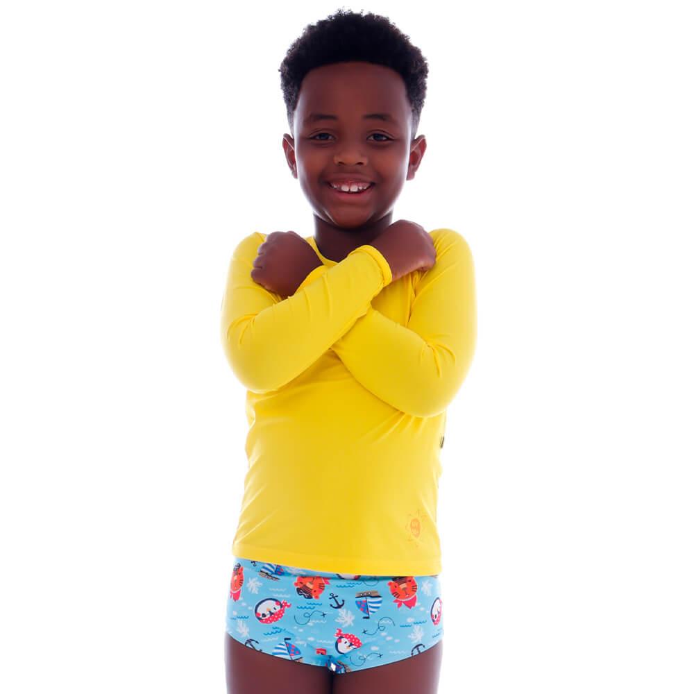 Blusa Infantil de Proteção UV Amarela - Cecí