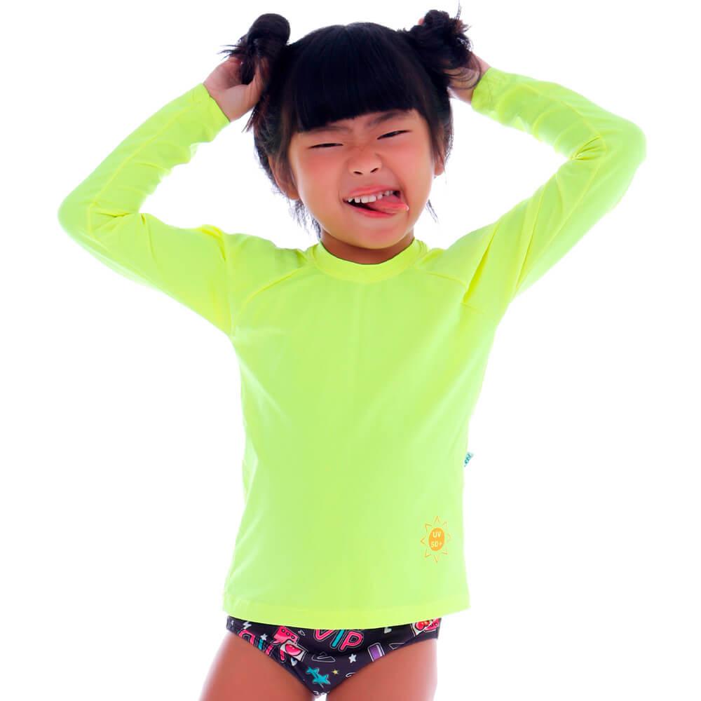Blusa Infantil de Proteção UV Amarelo Neon - Cecí
