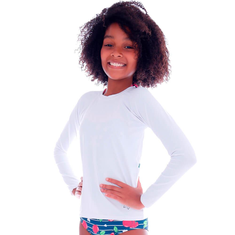 Blusa Infantil de Proteção UV Branca - Cecí