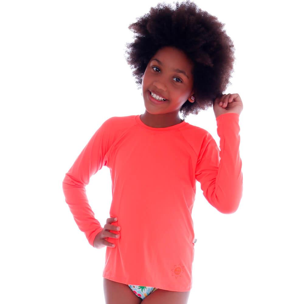 Blusa Infantil de Proteção UV Laranja Neon - Cecí
