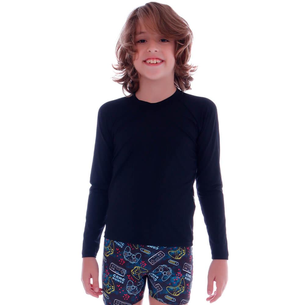 Blusa Infantil de Proteção UV Preta - Cecí