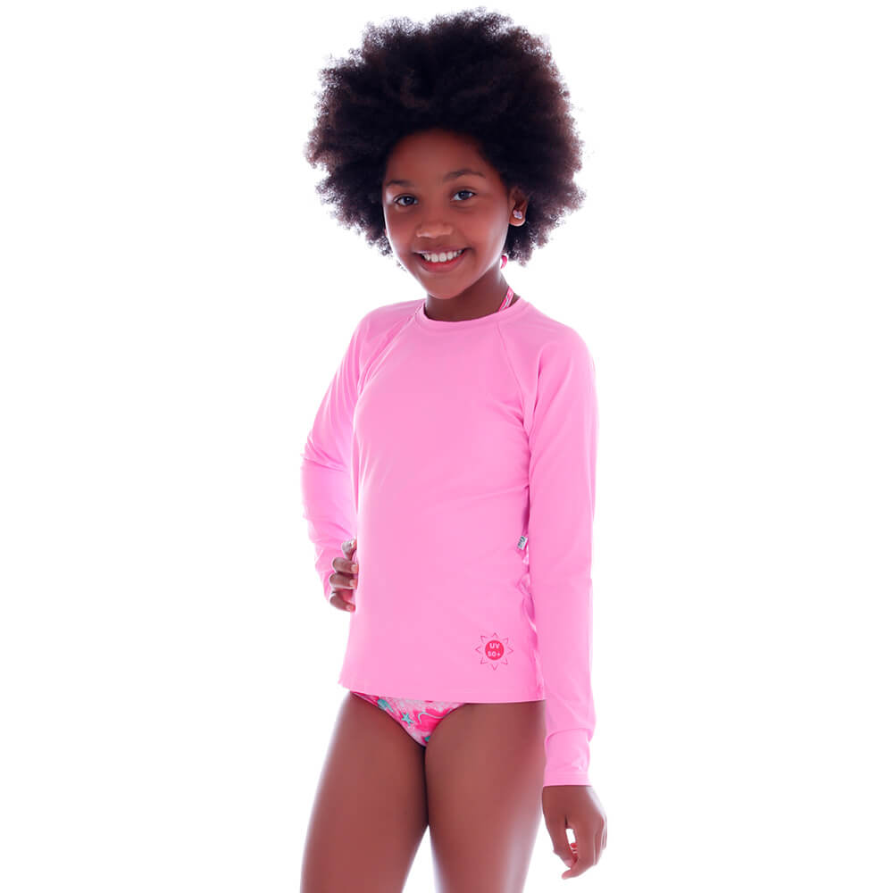Blusa Infantil de Proteção UV Rosa Bebe - Cecí