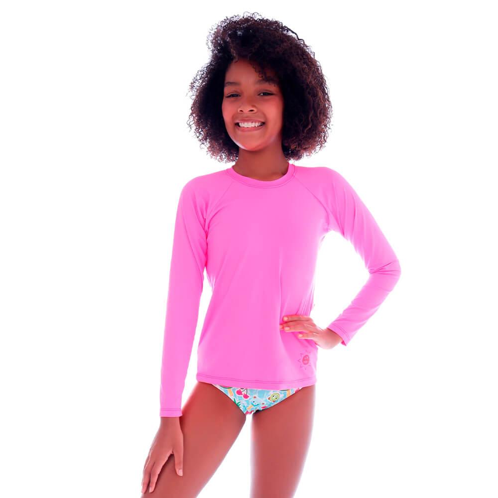 Blusa Infantil de Proteção UV Rosa Neon - Cecí
