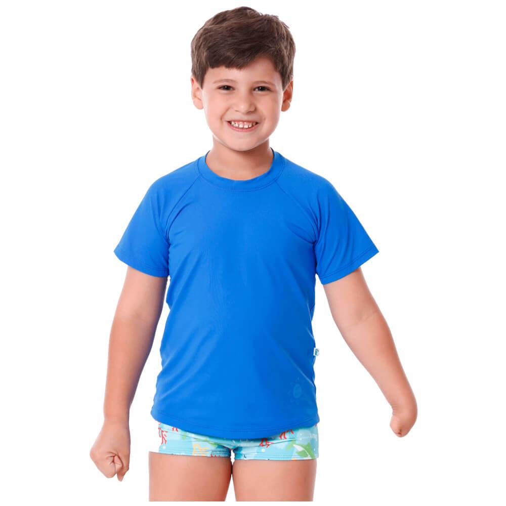 Blusa Infantil Manga Curta de Proteção Uv50+ Azul