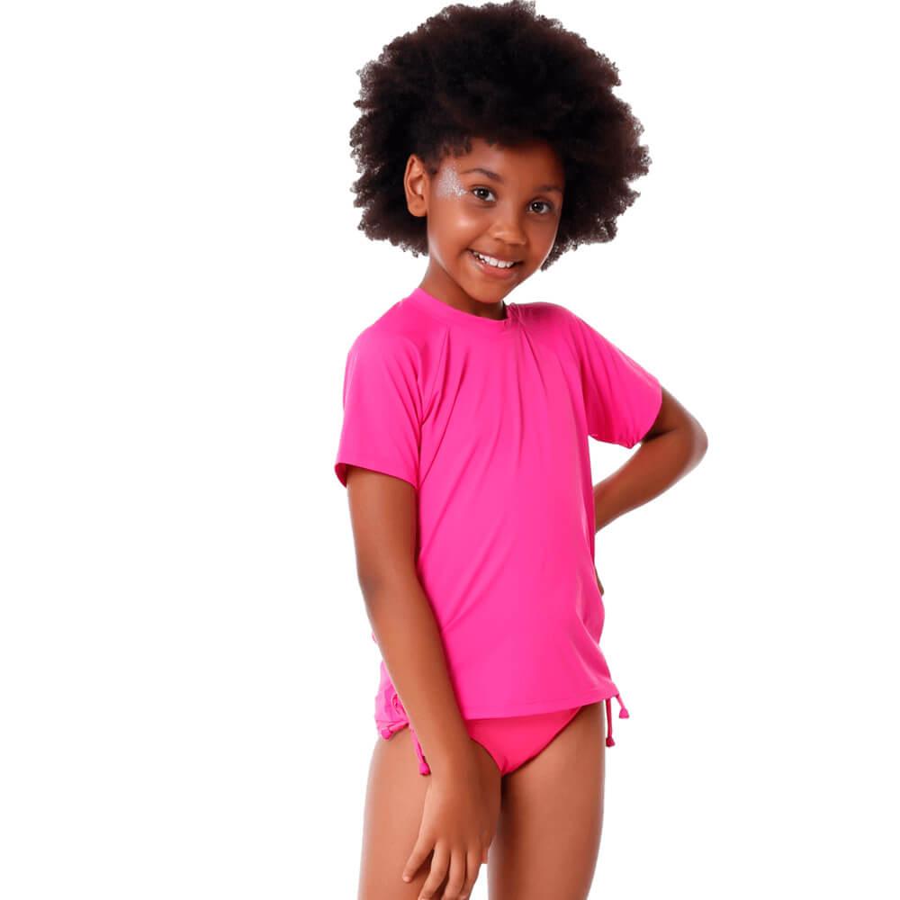 Blusa Infantil Manga Curta de Proteção Uv50+ Rosa