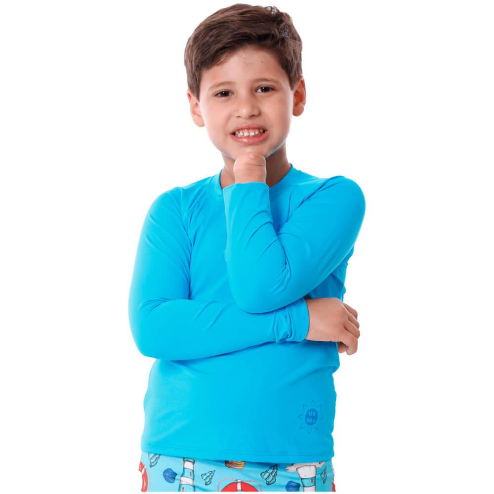 Blusa Infantil Manga Longa de Proteção Uv50+ Azul Claro