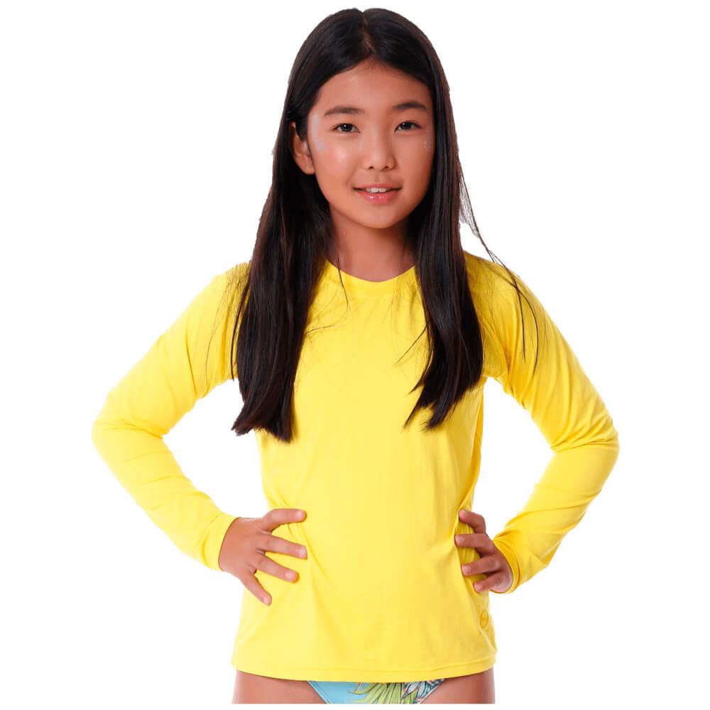 Blusa Infantil Manga Longa de Proteção Uv50+ Amarela