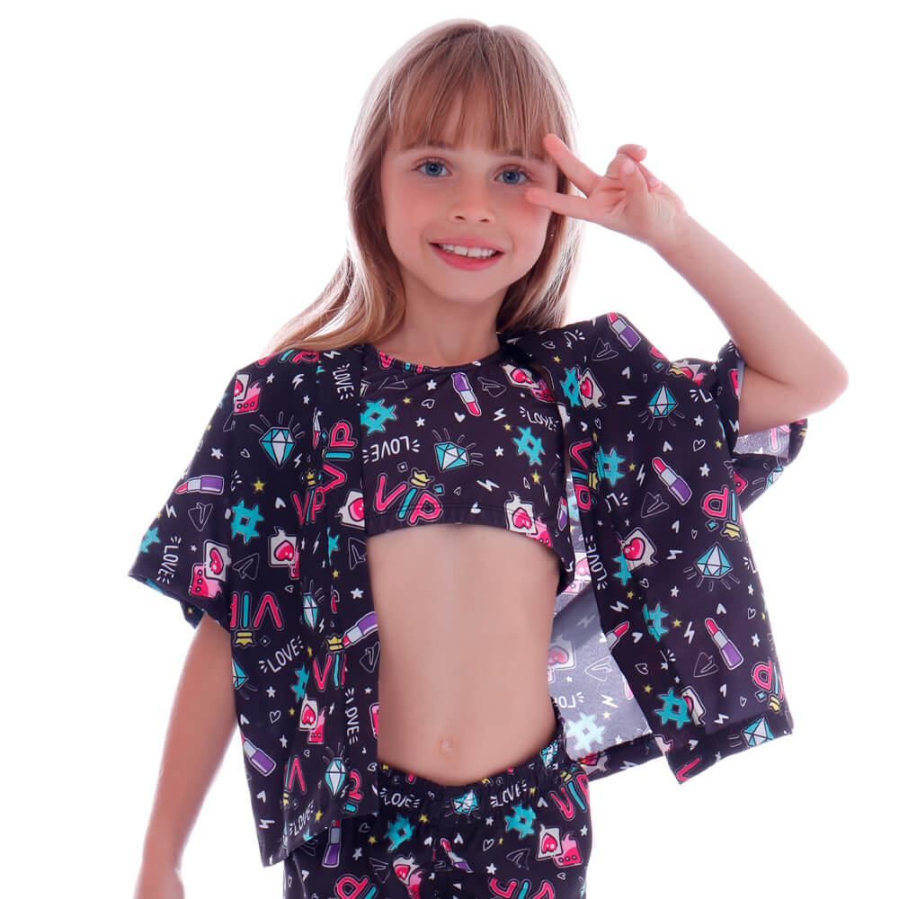 Blusa Kimono de Tactel Infantil Teen - Cecí