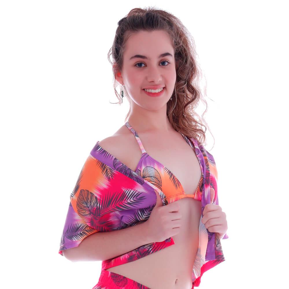 Blusa Kimono de Tactel Ombré Tropical - Cecí