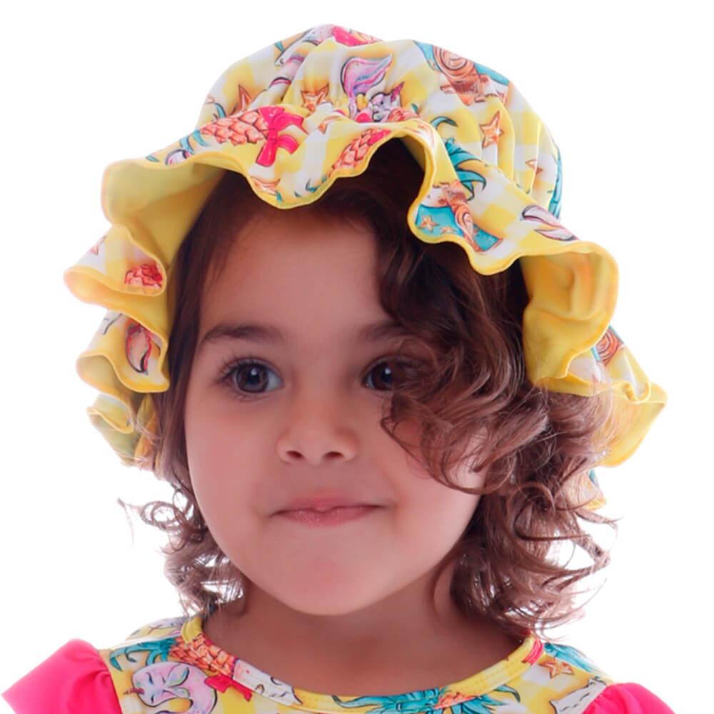 Chapéu Infantil Dupla Face Picnic Sereia - Cecí