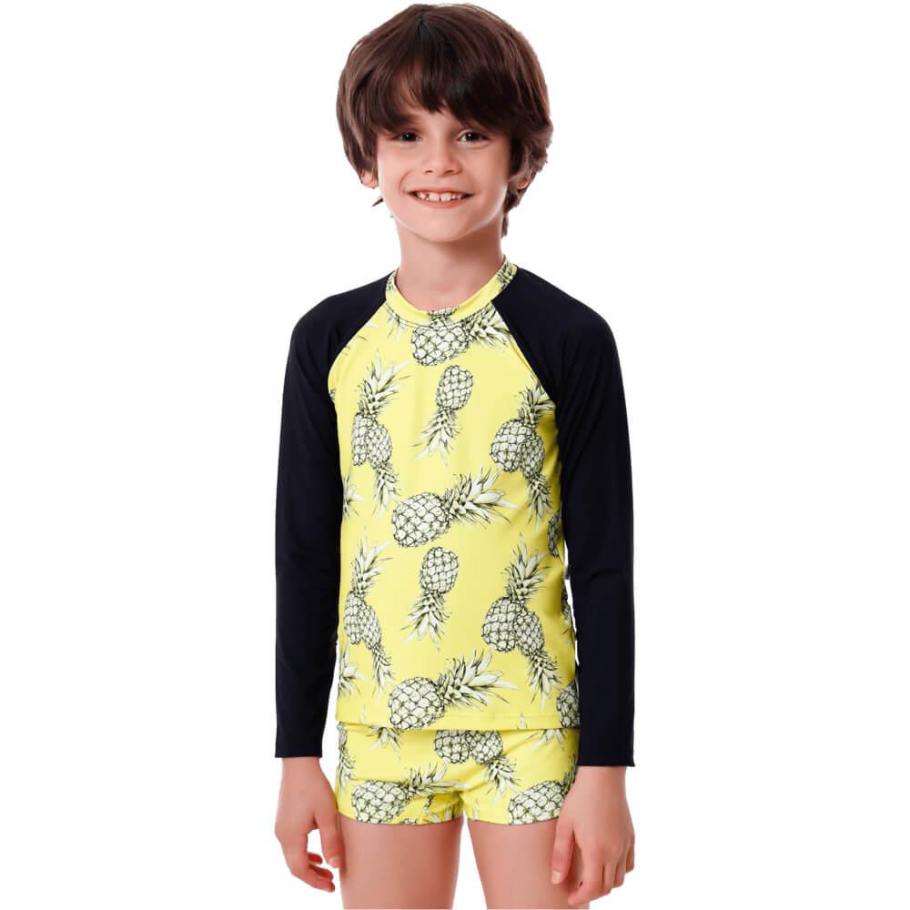 Conjunto Infantil Abacaxi com Blusa de Proteção e Sunga