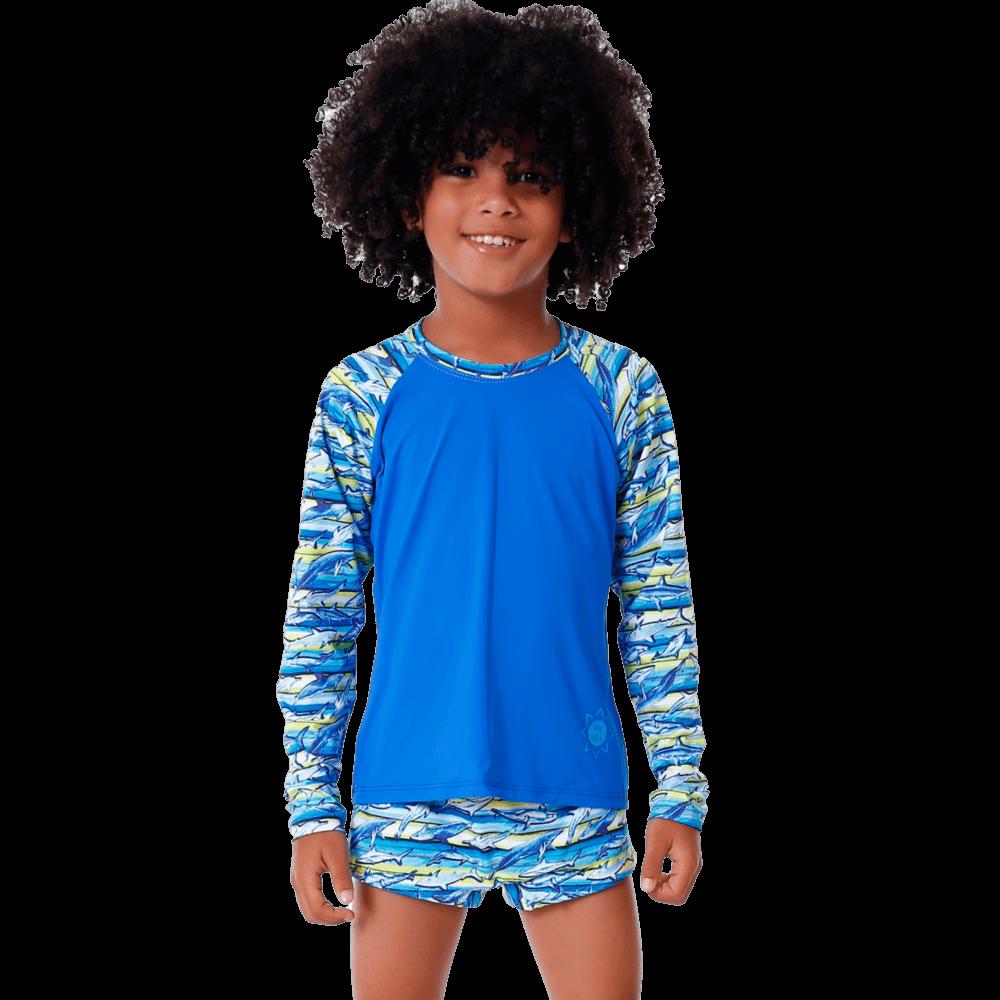 Conjunto Infantil Animais Marinhos com Blusa de Proteção e Sunga