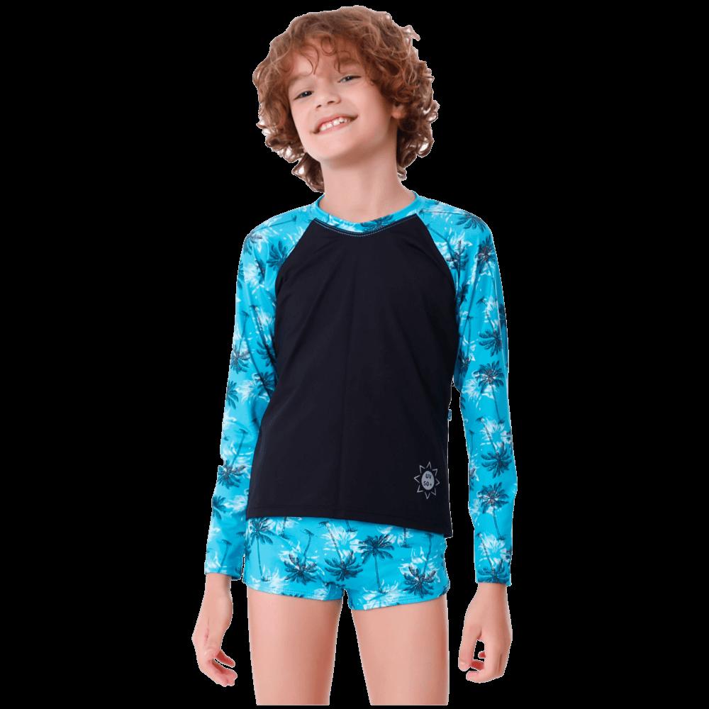 Conjunto Infantil Coqueiro com Blusa de Proteção e Sunga
