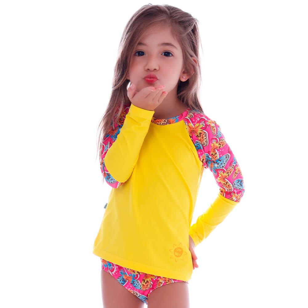 Conjunto Infantil de Proteção UV Borboletas Tropicais - Cecí