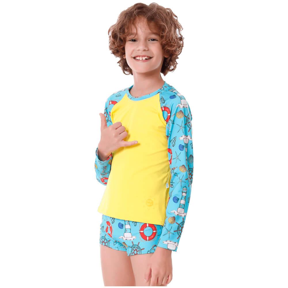 Conjunto Infantil Farol com Blusa de Proteção e Sunga