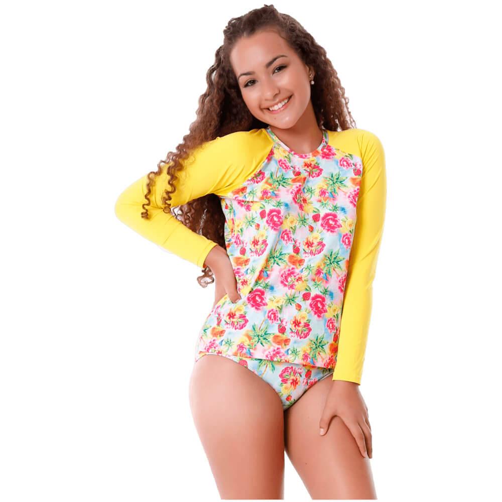 Conjunto Infantil Floral de Blusa de Proteção e Calcinha