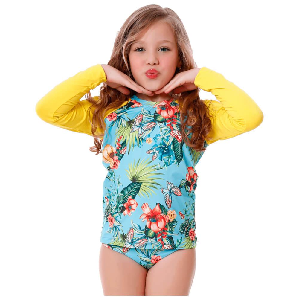 Conjunto Infantil Florido de Blusa de Proteção e Calcinha