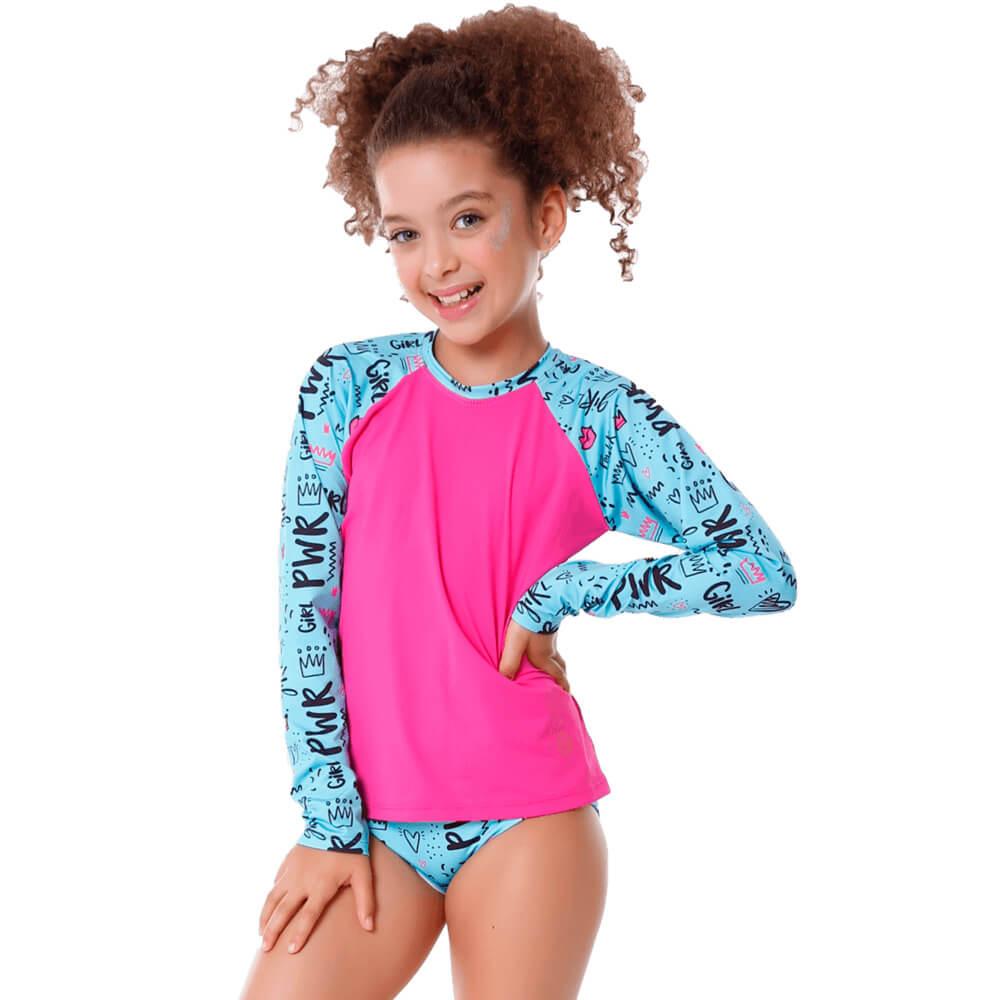 Conjunto Infantil Girl Pwr de Blusa de Proteção e Calcinha