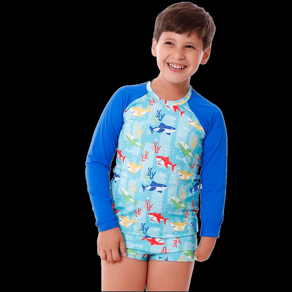 Conjunto Infantil Tubarão com Blusa de Proteção e Sunga