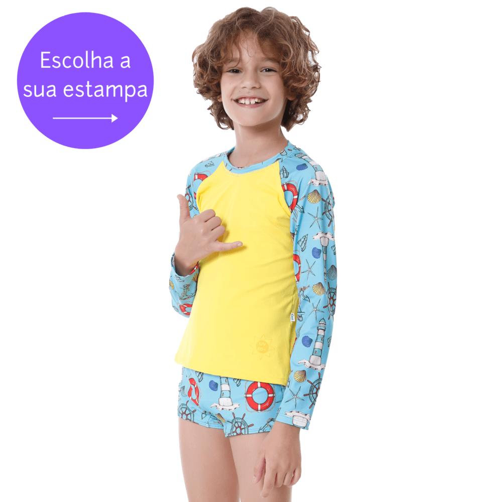 Conjunto Infantil de Blusa de Proteção e Sunga Confortaveis