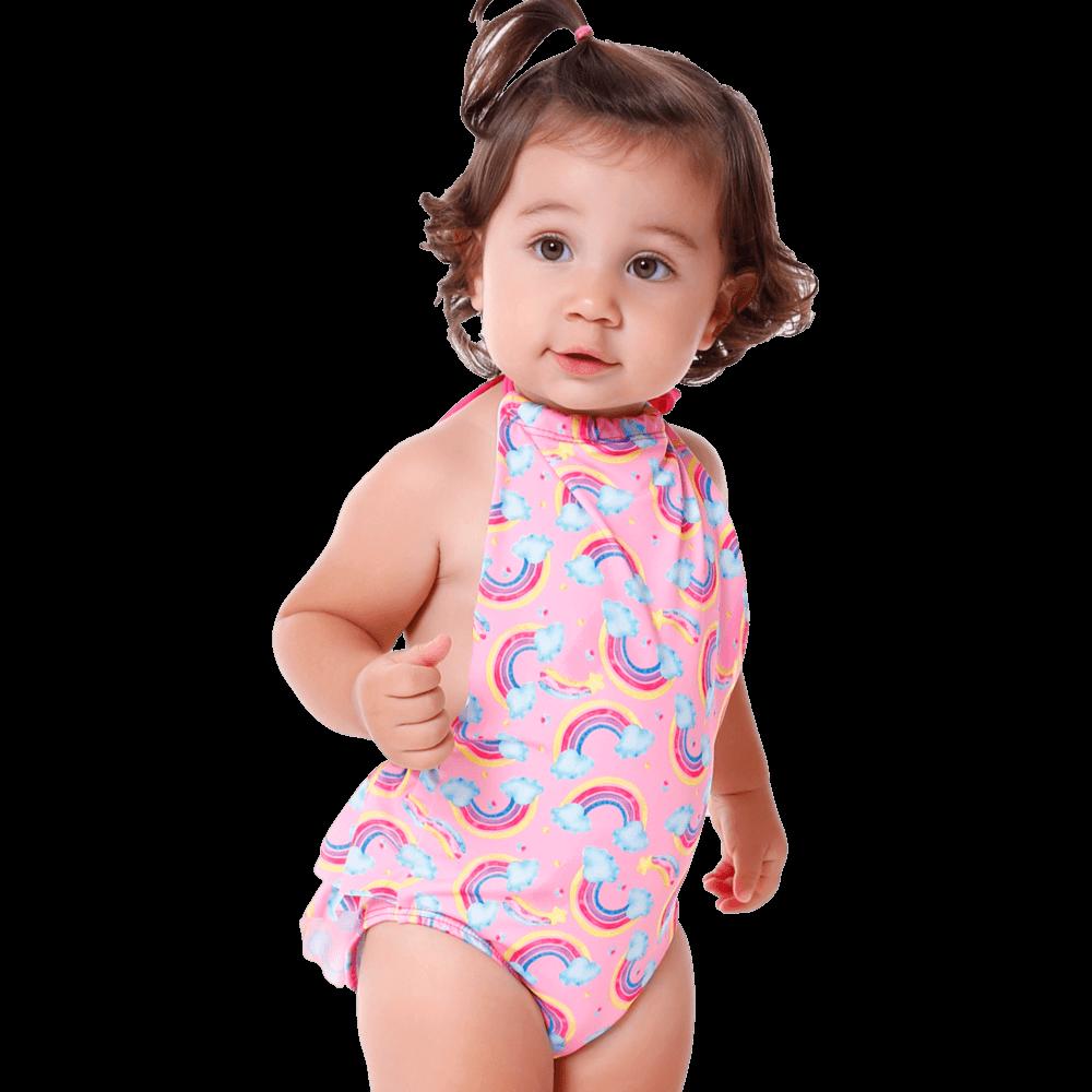 Maiô Baby Infantil Arco-Íris Frente Única Babado Bumbum
