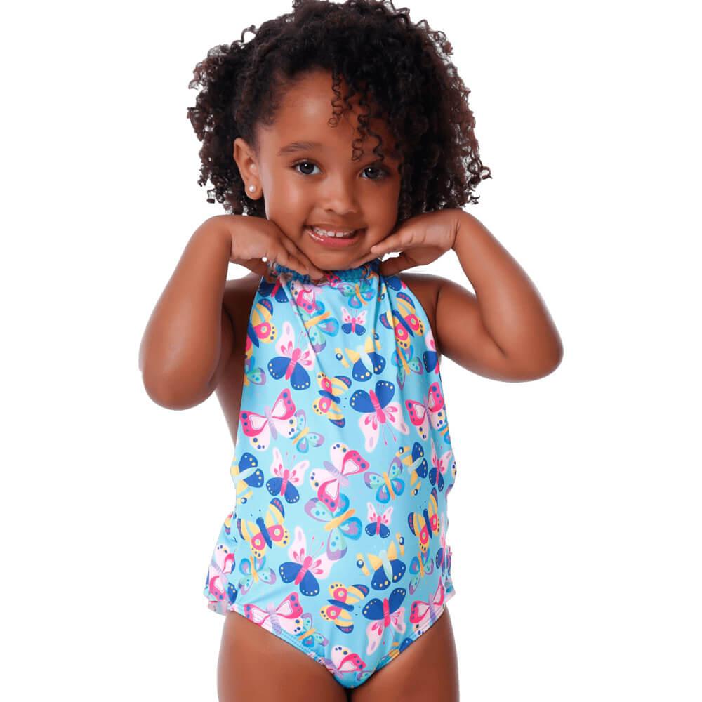 Maiô Baby Infantil de Borboleta Frente Única Babado Bumbum
