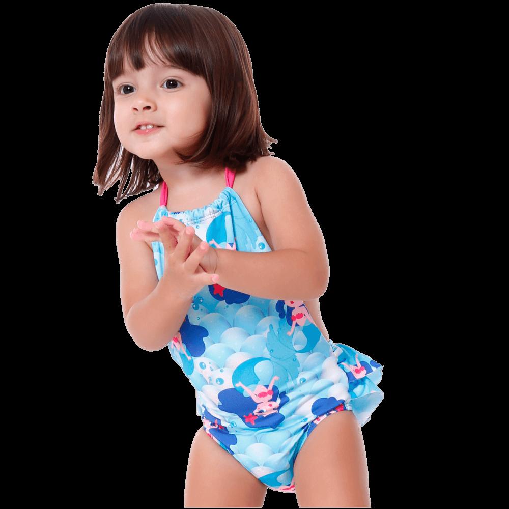 Maiô Baby Infantil Sereia Frente Única Babado Bumbum