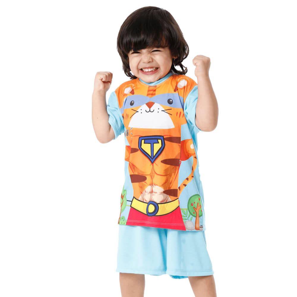 Pijama Infantil Super Tigre Manga Curta
