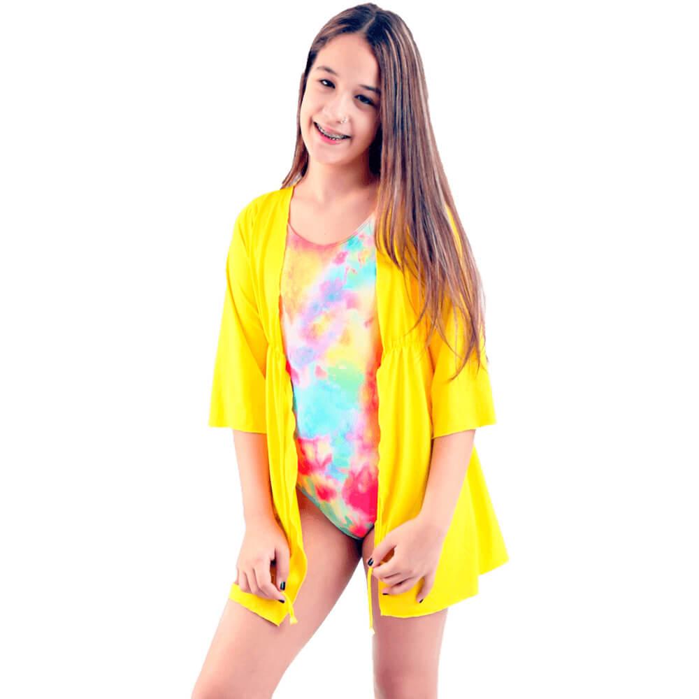 Saída de Praia Infantil Amarela Kimono Com Proteção Uv50+ Amarela