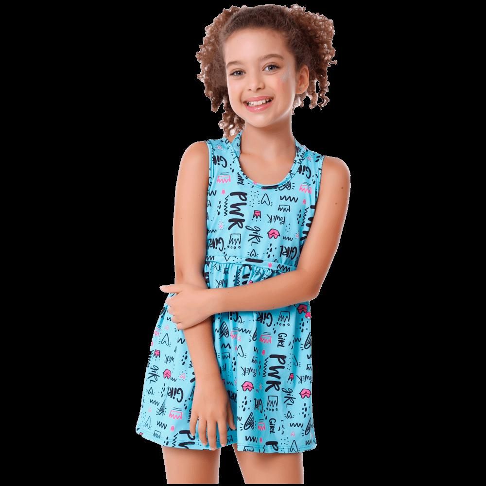 Saída de Praia Infantil Girl Pwr Vestidinho Com Proteção Uv50+