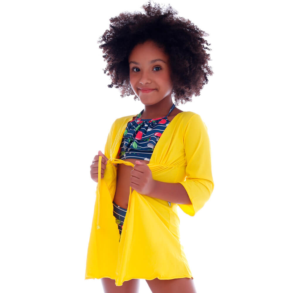 Saida de Praia Infantil Kimono Amarela - Cecí