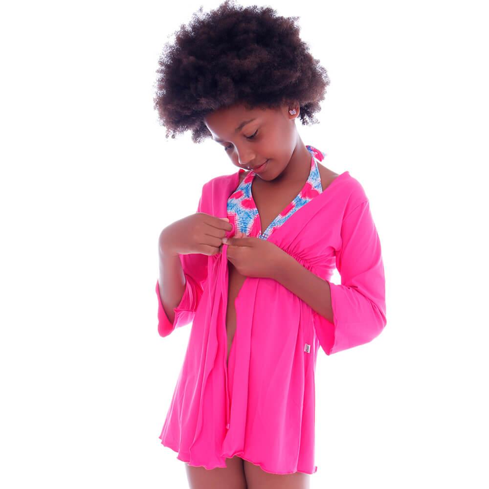 Saida de Praia Infantil Kimono Rosa - Cecí