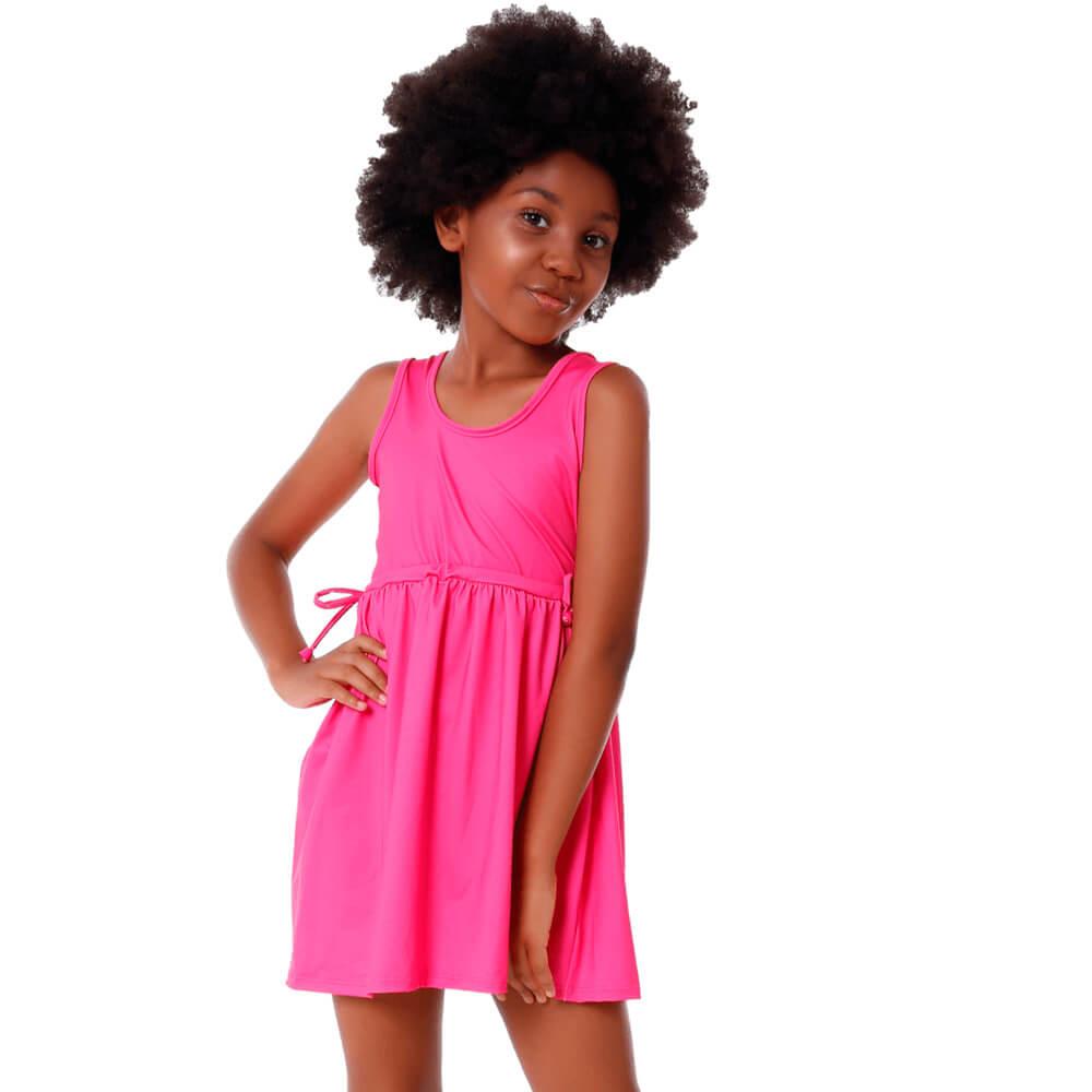 Saída de Praia Infantil Vestidinho Com Proteção Uv50+ Rosa