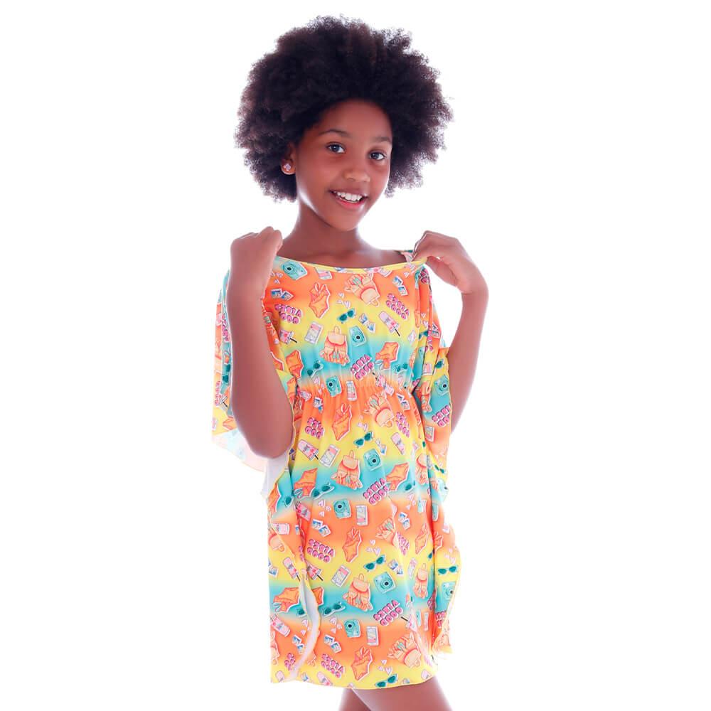 Saida de Praia Kaftan Infantil Summer Good Vibes  - Cecí