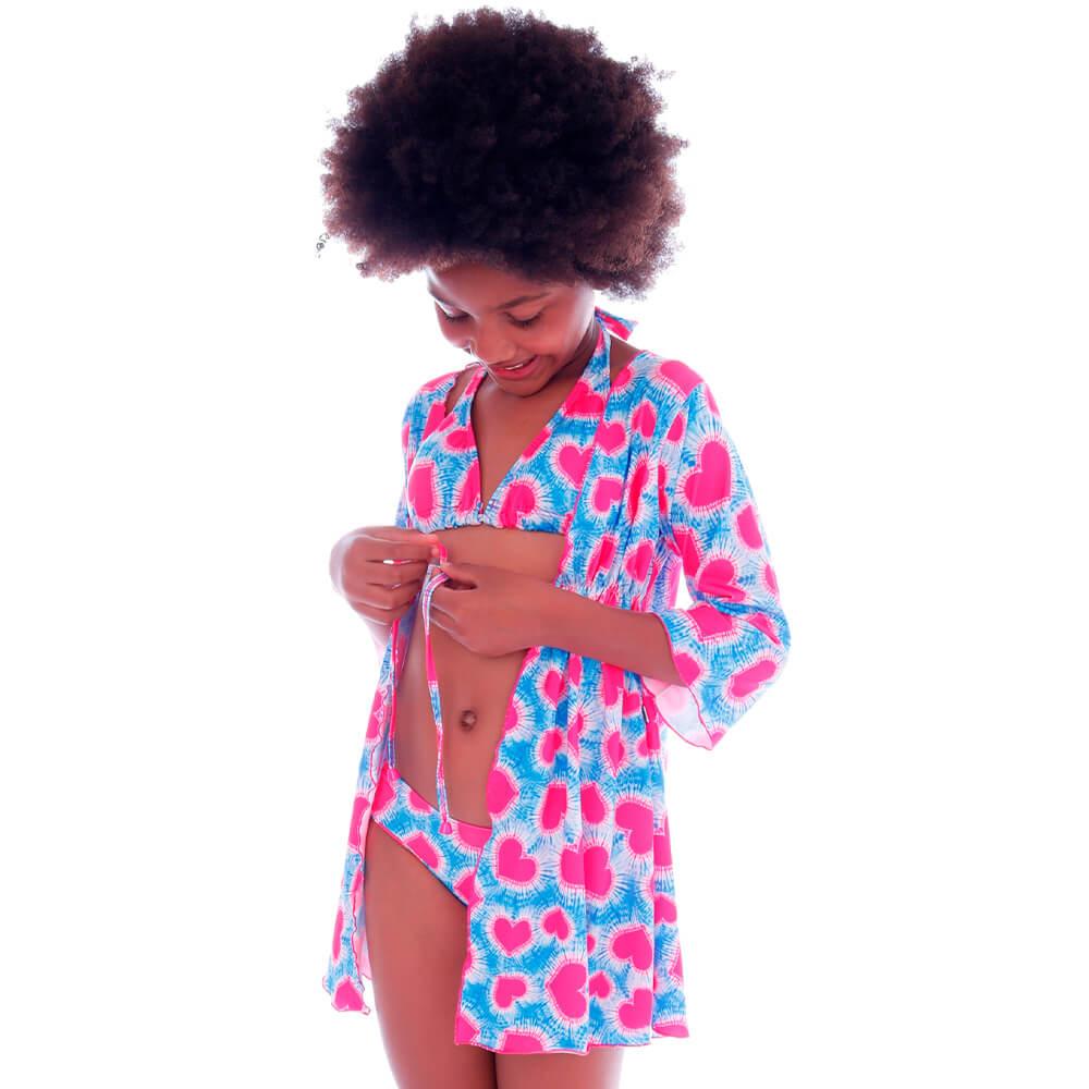 Saida de Praia Kimono Infantil Coração Tie Dye - Cecí