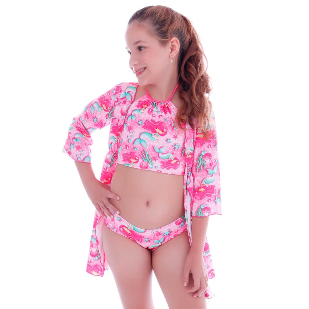 Saida de Praia Kimono Infantil Sereia Glam - Cecí
