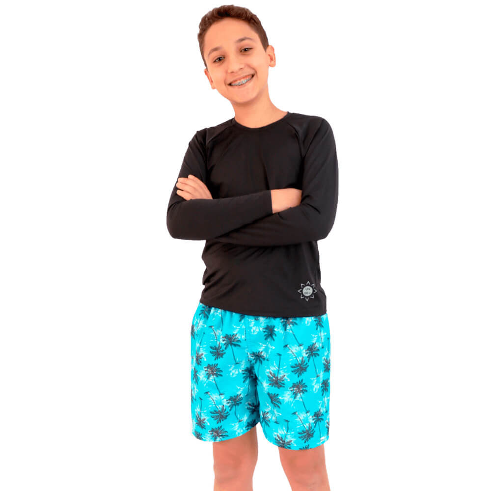 Short Curto Infantil de Tactel Com Proteção UV