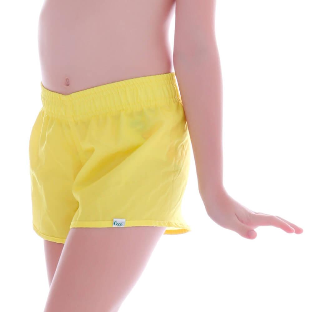 Short Infantil de Tactel Amarelo - Cecí